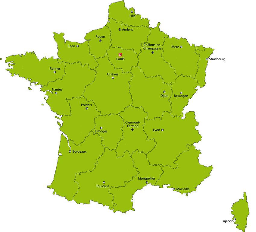 Grande Carte de France sur la page contact du site DCME